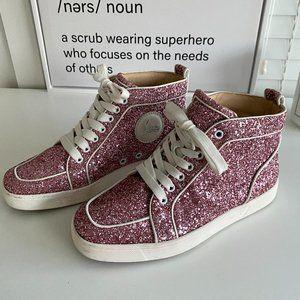 Christian Louboutin Pink Glitter Sneakers
